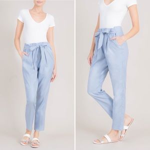 Level 99 Cynthia Tie Waist Paperbag linen Pant 28